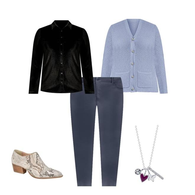 Women/'s EVRI long sleeve Dexter Blue Top Shirt Size Plus  4X NWT