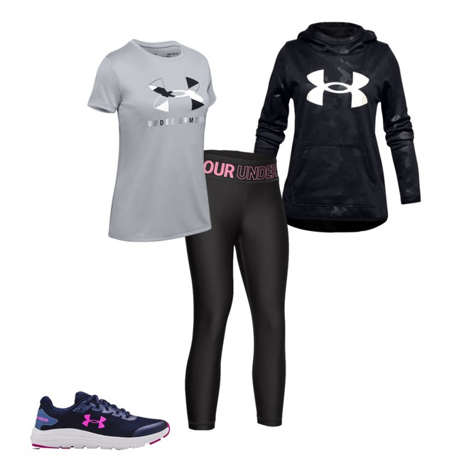 Under Armour Girls HeatGear Armour Ankle Crop 010 Youth X-Large Jet Gray //Pink Craze